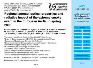 Regional Aerosol Optical Properties and ... by Lund Myhre, C.