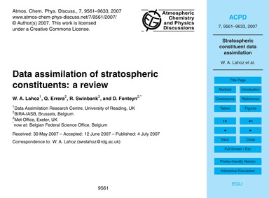Data Assimilation of Stratospheric Const... by Lahoz, W. A.