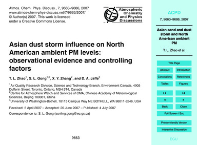 Asian Dust Storm Influence on North Amer... by Zhao, T. L.