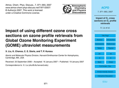 Impact of Using Different Ozone Cross Se... by Liu, X.