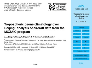 Tropospheric Ozone Climatology Over Beij... by Ding, A. J.