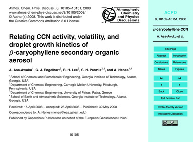 Relating Ccn Activity, Volatility, and D... by Asa-awuku, A.