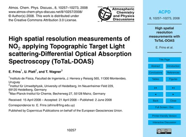 High Spatial Resolution Measurements of ... by Frins, E.