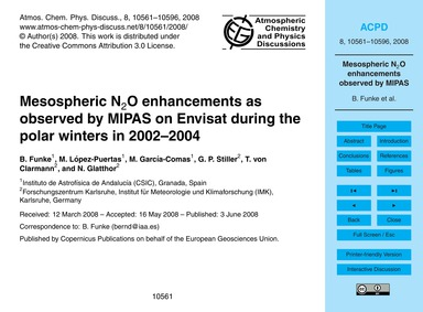 Mesospheric N2O Enhancements as Observed... by Funke, B.