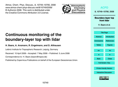 Continuous Monitoring of the Boundary-la... by Baars, H.