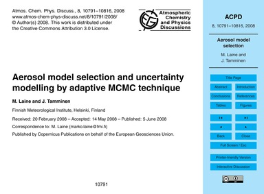Aerosol Model Selection and Uncertainty ... by Laine, M.