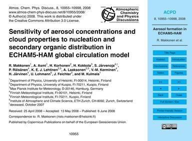 Sensitivity of Aerosol Concentrations an... by Makkonen, R.