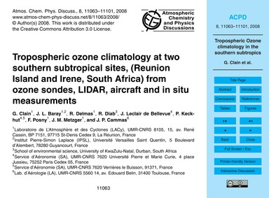 Tropospheric Ozone Climatology at Two So... by Clain, G.