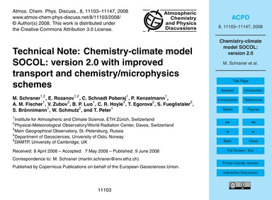 Technical Note: Chemistry-climate Model ... by Schraner, M.