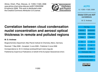 Correlation Between Cloud Condensation N... by Andreae, M. O.