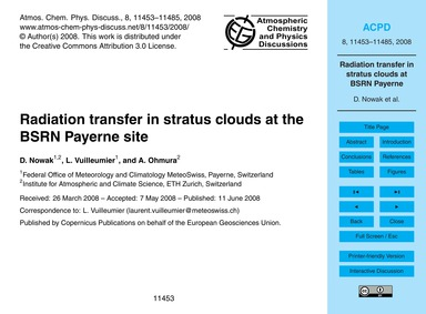 Radiation Transfer in Stratus Clouds at ... by Nowak, D.