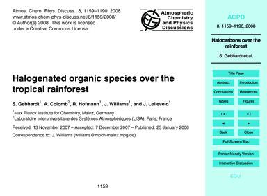 Halogenated Organic Species Over the Tro... by Gebhardt, S.