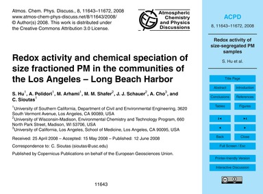 Redox Activity and Chemical Speciation o... by Hu, S.