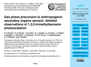 Gas Phase Precursors to Anthropogenic Se... by Wyche, K. P.