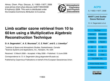 Limb Scatter Ozone Retrieval from 10 to ... by Degenstein, D. A.