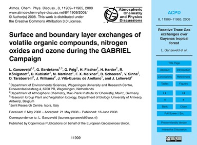 Surface and Boundary Layer Exchanges of ... by Ganzeveld, L.