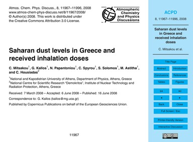 Saharan Dust Levels in Greece and Receiv... by Mitsakou, C.