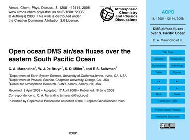 Open Ocean Dms Air/Sea Fluxes Over the E... by Marandino, C. A.