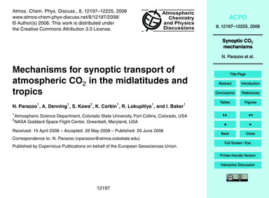 Mechanisms for Synoptic Transport of Atm... by Parazoo, N.