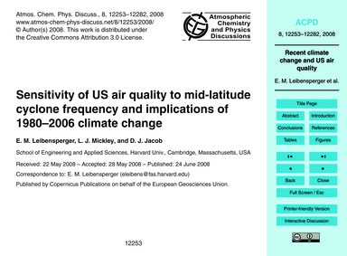 Sensitivity of US Air Quality to Mid-lat... by Leibensperger, E. M.
