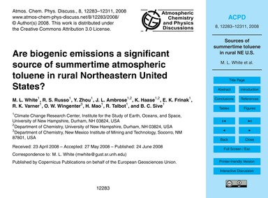 Are Biogenic Emissions a Significant Sou... by White, M. L.