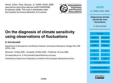 On the Diagnosis of Climate Sensitivity ... by Kirk-davidoff, D.