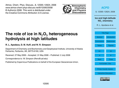 The Role of Ice in N2O5 Heterogeneous Hy... by Apodaca, R. L.