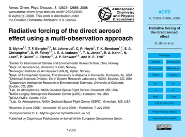 Radiative Forcing of the Direct Aerosol ... by Myhre, G.