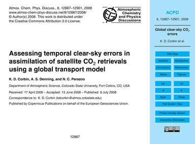 Assessing Temporal Clear-sky Errors in A... by Corbin, K. D.