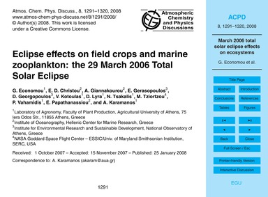 Eclipse Effects on Field Crops and Marin... by Economou, G.