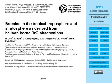 Bromine in the Tropical Troposphere and ... by Dorf, M.