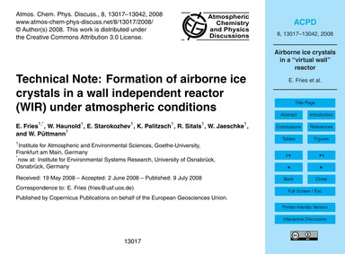 Technical Note: Formation of Airborne Ic... by Fries, E.