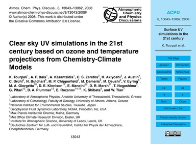 Clear Sky Uv Simulations in the 21St Cen... by Tourpali, K.
