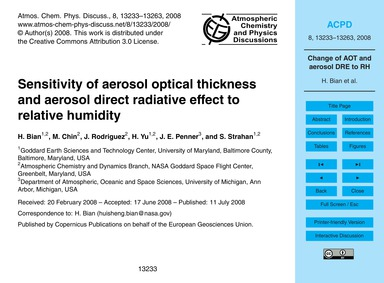 Sensitivity of Aerosol Optical Thickness... by Bian, H.