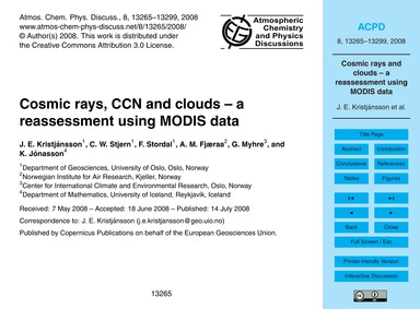 Cosmic Rays, Ccn and Clouds – a Reassess... by Kristjánsson, J. E.