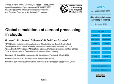 Global Simulations of Aerosol Processing... by Hoose, C.