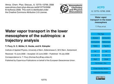 Water Vapor Transport in the Lower Mesos... by Flury, T.