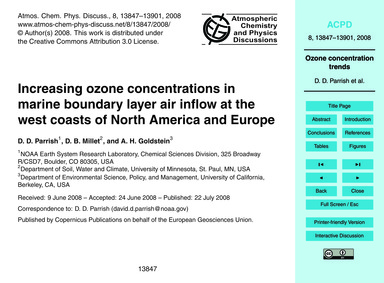 Increasing Ozone Concentrations in Marin... by Parrish, D. D.