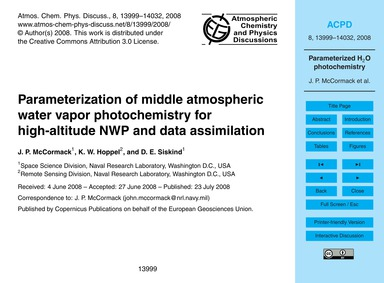 Parameterization of Middle Atmospheric W... by McCormack, J. P.