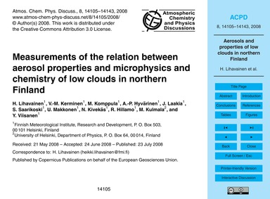 Measurements of the Relation Between Aer... by Lihavainen, H.
