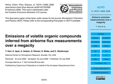 Emissions of Volatile Organic Compounds ... by Karl, T.