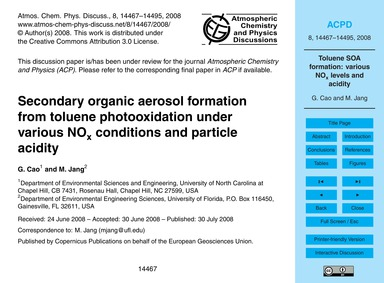 Secondary Organic Aerosol Formation from... by Cao, G.