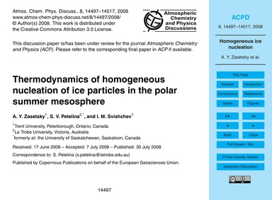 Thermodynamics of Homogeneous Nucleation... by Zasetsky, A. Y.
