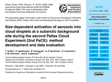Size-dependent Activation of Aerosols In... by Anttila, T.