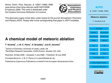 A Chemical Model of Meteoric Ablation : ... by Vondrak, T.