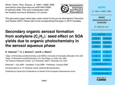 Secondary Organic Aerosol Formation from... by Volkamer, R.