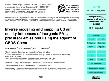 Inverse Modeling and Mapping US Air Qual... by Henze, D. K.