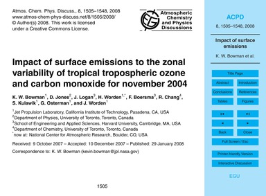 Impact of Surface Emissions to the Zonal... by Bowman, K. W.