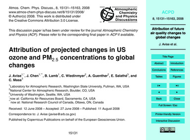 Attribution of Projected Changes in US O... by Avise, J.