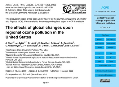 The Effects of Global Changes Upon Regio... by Chen, J.